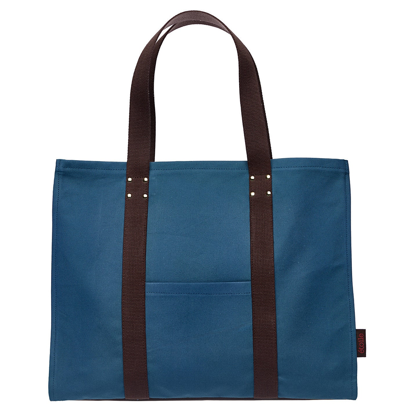 Eileen Resin Coated Cotton Canvas Tote Bag in Dark Petrol Blue
