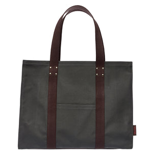Eileen Resin Coated Cotton Canvas Tote Bag in Dark Stone Grey