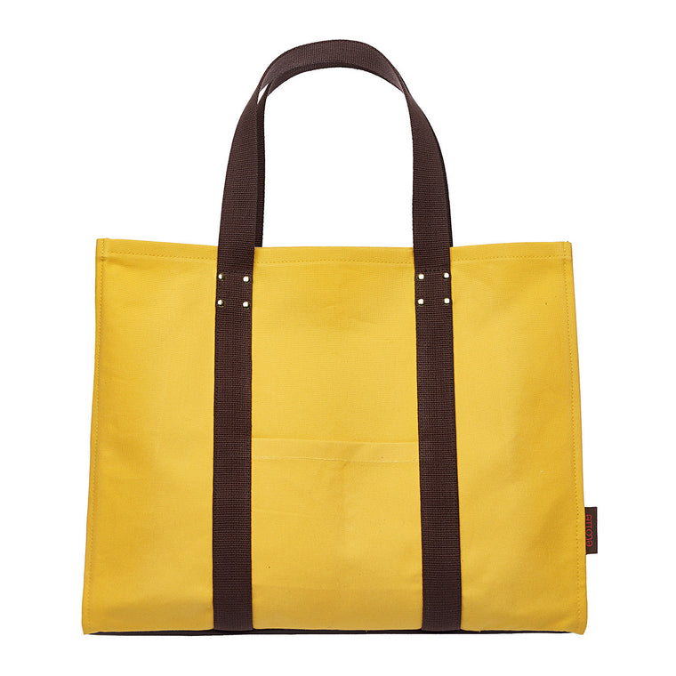 Eileen Resin Coated Cotton Canvas Tote Bag in Maize Yellow