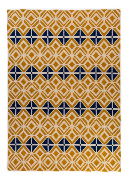 Glasswork Geometric Pattern Flat Weave Wool Rug in Gold and Dark Petrol Blue
