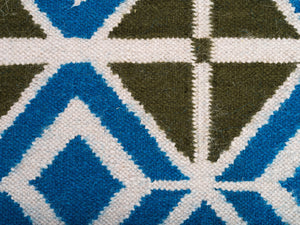 Glasswork Wool Flat Weave Rug in Turquoise and Olive Green