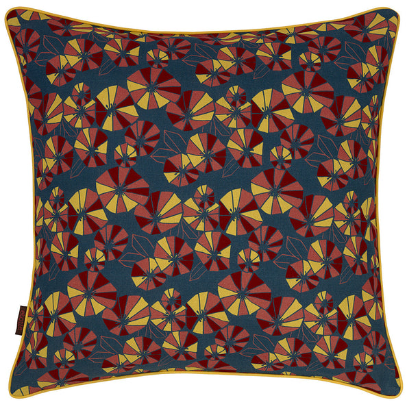 Eden Floral Pattern Linen Union Printed Cushion Petrol Blue with Mustard Yellow, Coral Pink & Vermilion Red 55x55cm
