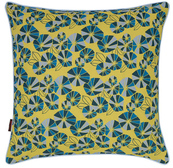 Eden Floral Pattern Linen Union Printed Cushion 55x55cm Chartreuse Yellow, Petrol Blue, Turquoise and Winter Blue