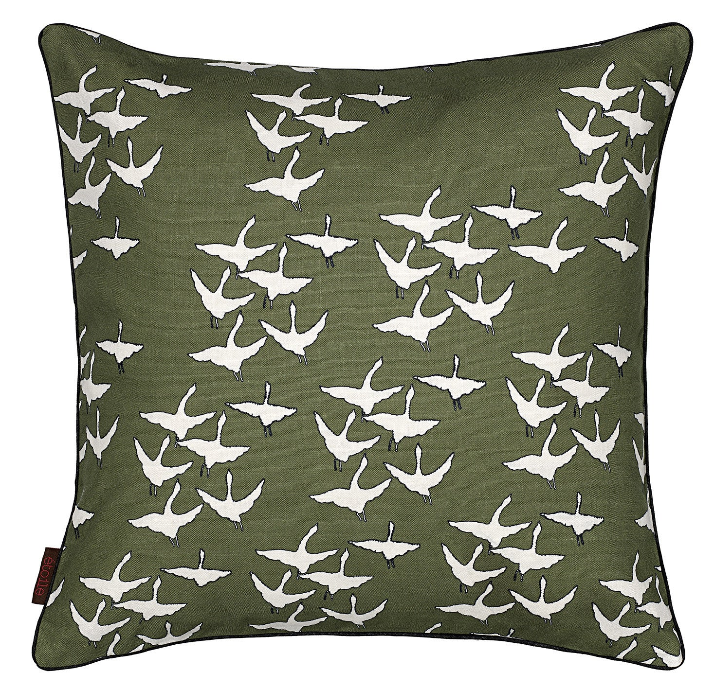 "Geese Pattern Cotton Linen Decorative Throw Pillow in Olive Green 45x45cm (18x18"")"