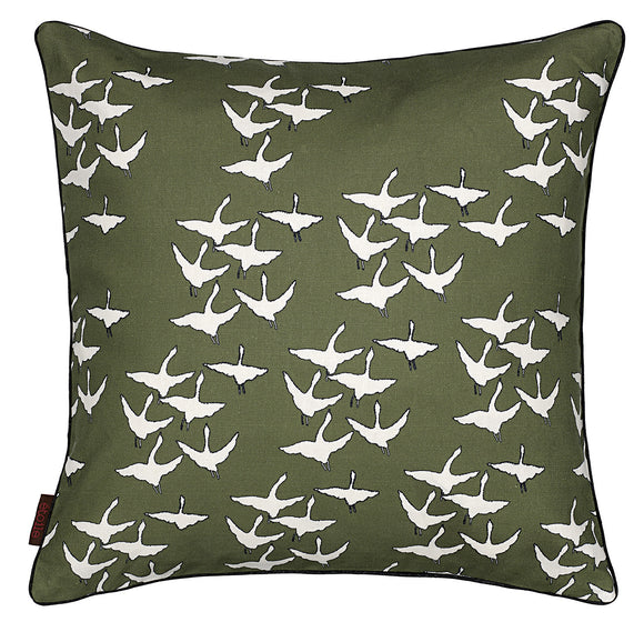 Geese Pattern Cotton Linen Cushion in Olive Green 45x45cm