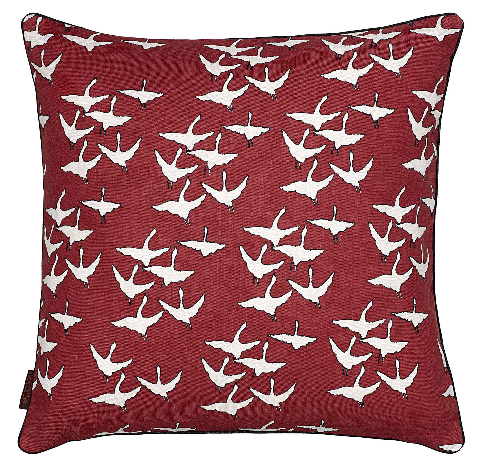 Geese Bird Pattern Cotton Linen Cushion in Dark Vermilion Red 45x45cm