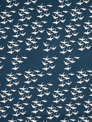Geese Bird Pattern Cotton Linen Fabric by the Meter in Dark Petrol Blue