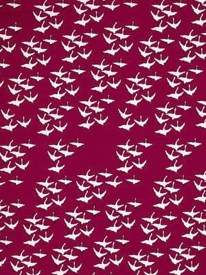 Geese Bird Pattern Cotton Linen Fabric by the Meter in Dark Vermilion Red