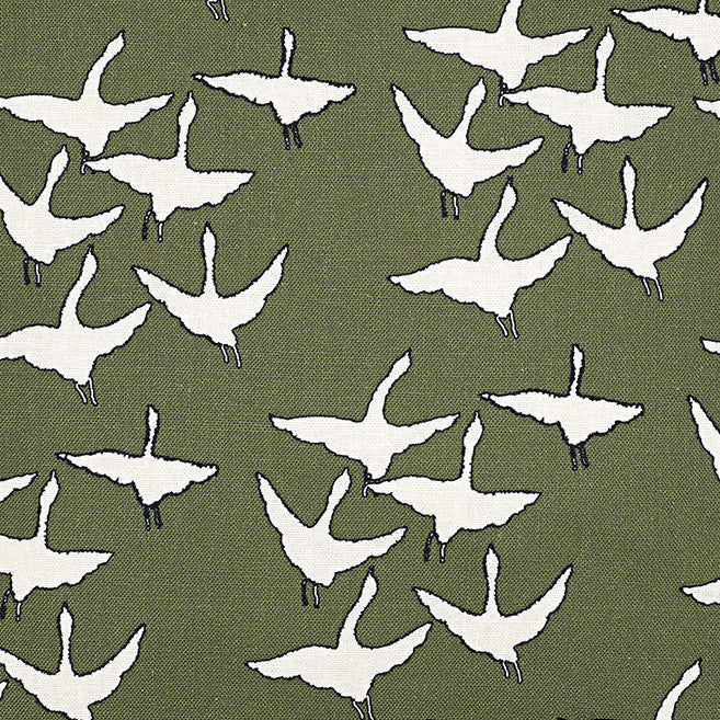 Geese Bird Pattern Cotton Linen Fabric by the Meter in Olive Green