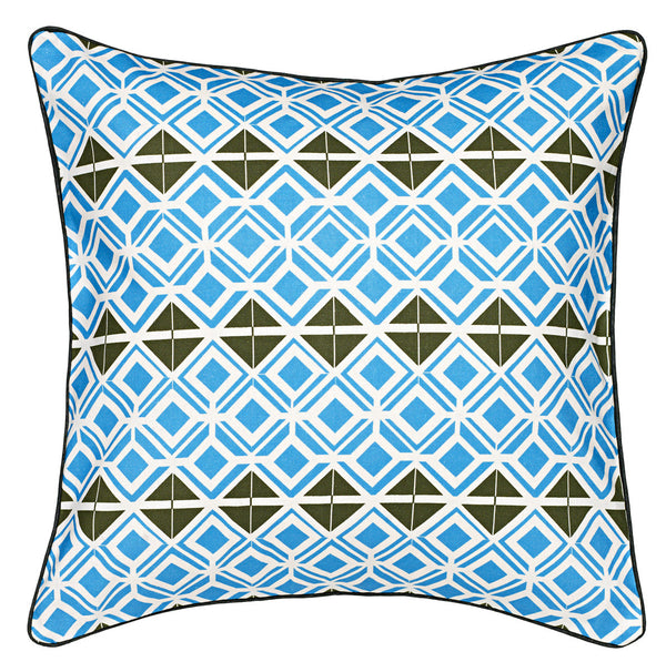 Glasswork Geometric Pattern Linen Cushion - Turquoise Blue & Olive Green
