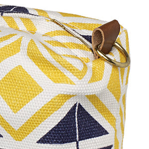 Glasswork Geometric Pattern Canvas Wash (toiletry)  Bag - Maize Yellow / Navy Blue