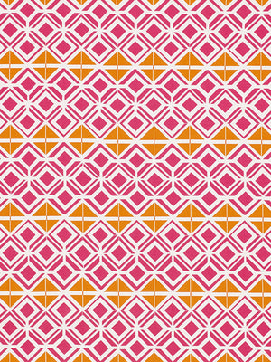 Glasswork Geometric Pattern Cotton Linen Fabric by the Meter in Bright Fuchsia Pink & Pumpkin Orange