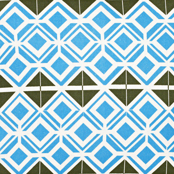 Glasswork Geometric Pattern Cotton Linen Fabric by the Meter in Turquoise Blue / Olive Green