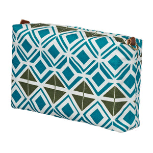 Glasswork Geometric Pattern Canvas Wash toiletry travel  Bag - Turquoise Blue Olive Green ships from Canada