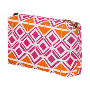 Glasswork Geometric Pattern Canvas Wash toiletry travel Bag in Bright Fuchsia Pink / Pumpkin Orange ships from Canada perfect for cosmetics