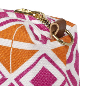Glasswork Geometric Pattern Canvas Wash (toiletry) Bag in Bright Fuchsia Pink - Pumpkin Orange