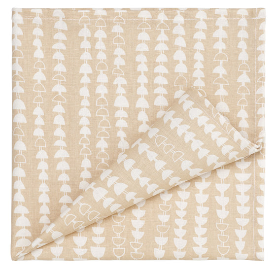 Hopi Patterned Cotton Linen Napkins in Light Earth Cream
