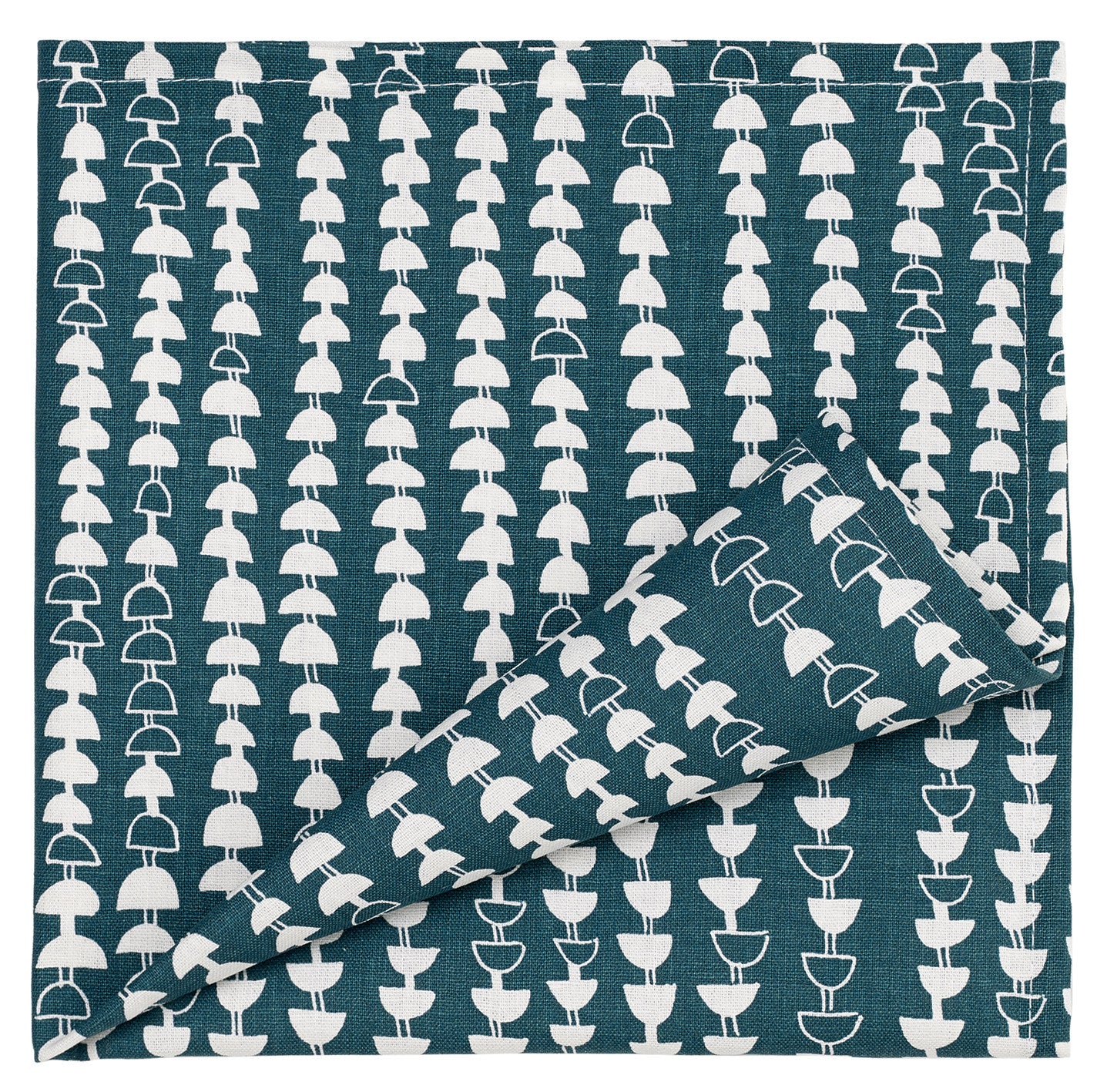 Hopi Patterned Cotton Linen Napkins in Dark Petrol Blue