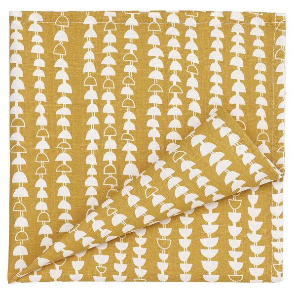 Hopi Pattern Cotton Linen Napkin in Mustard Gold