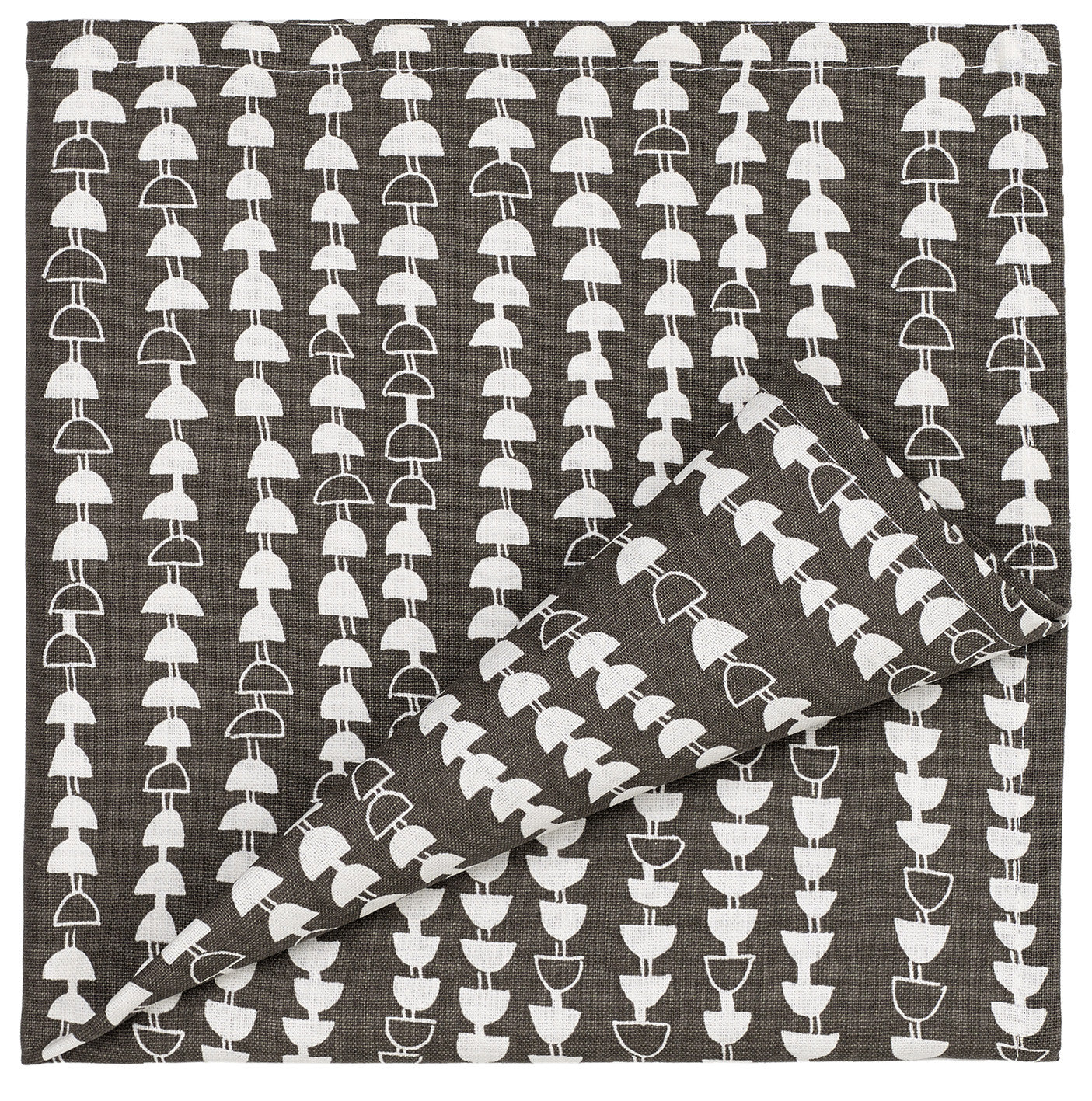 Hopi Pattern Cotton Linen Napkins - Dark Stone Grey