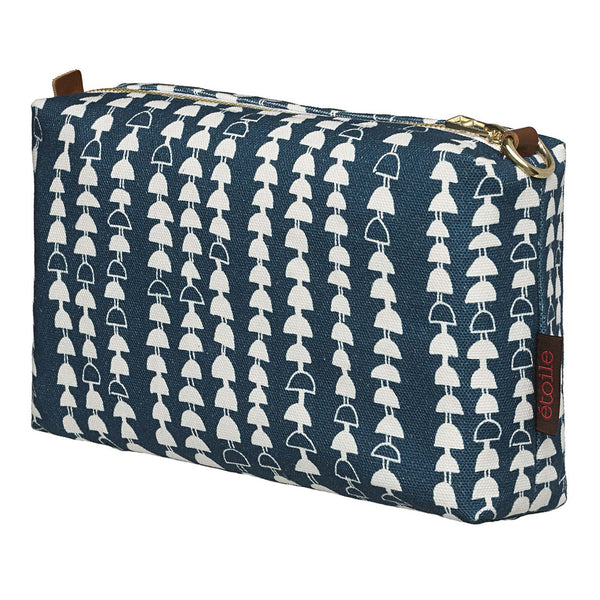 Hopi Graphic Pattern Canvas Wash Bag in Dark Petrol Blue