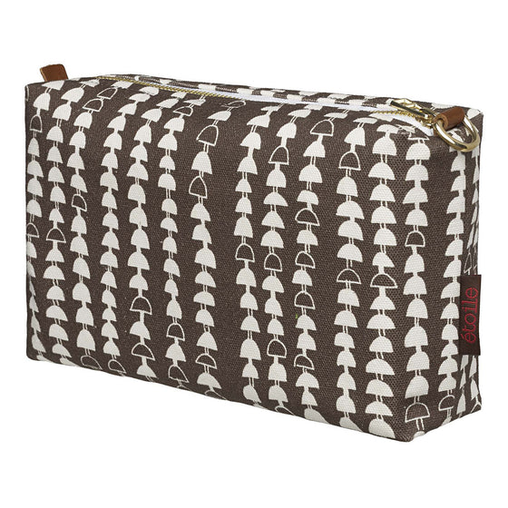 Hopi Graphic Pattern Canvas Wash Bag in Stone Grey