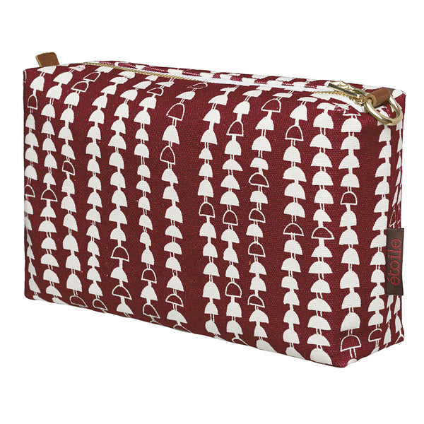 Hopi Graphic Pattern Canvas Wash Bag in Dark Vermilion Red
