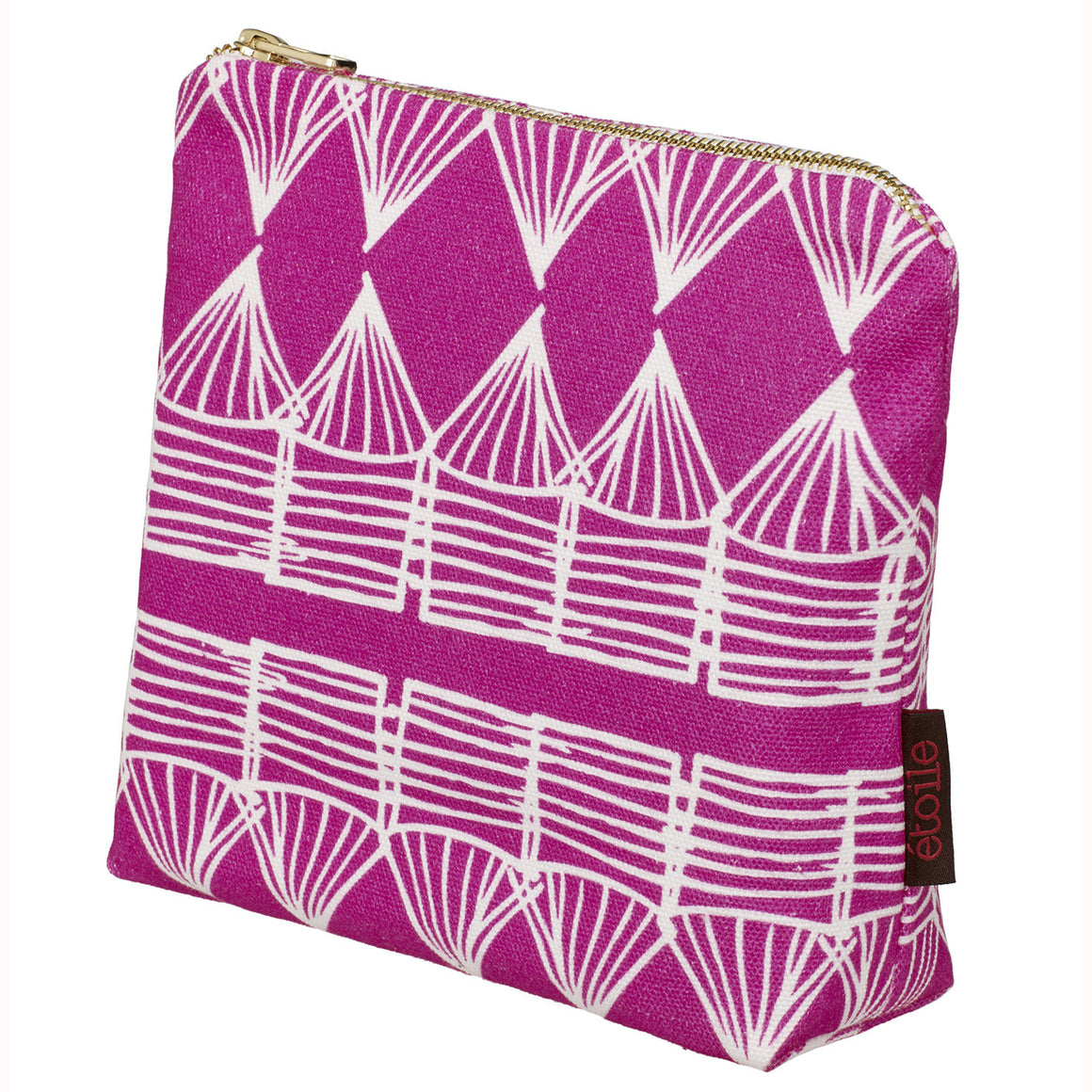 Tiki Huts Pattern Cotton Canvas Cosmetic Bag in Bright Fuchsia Pink