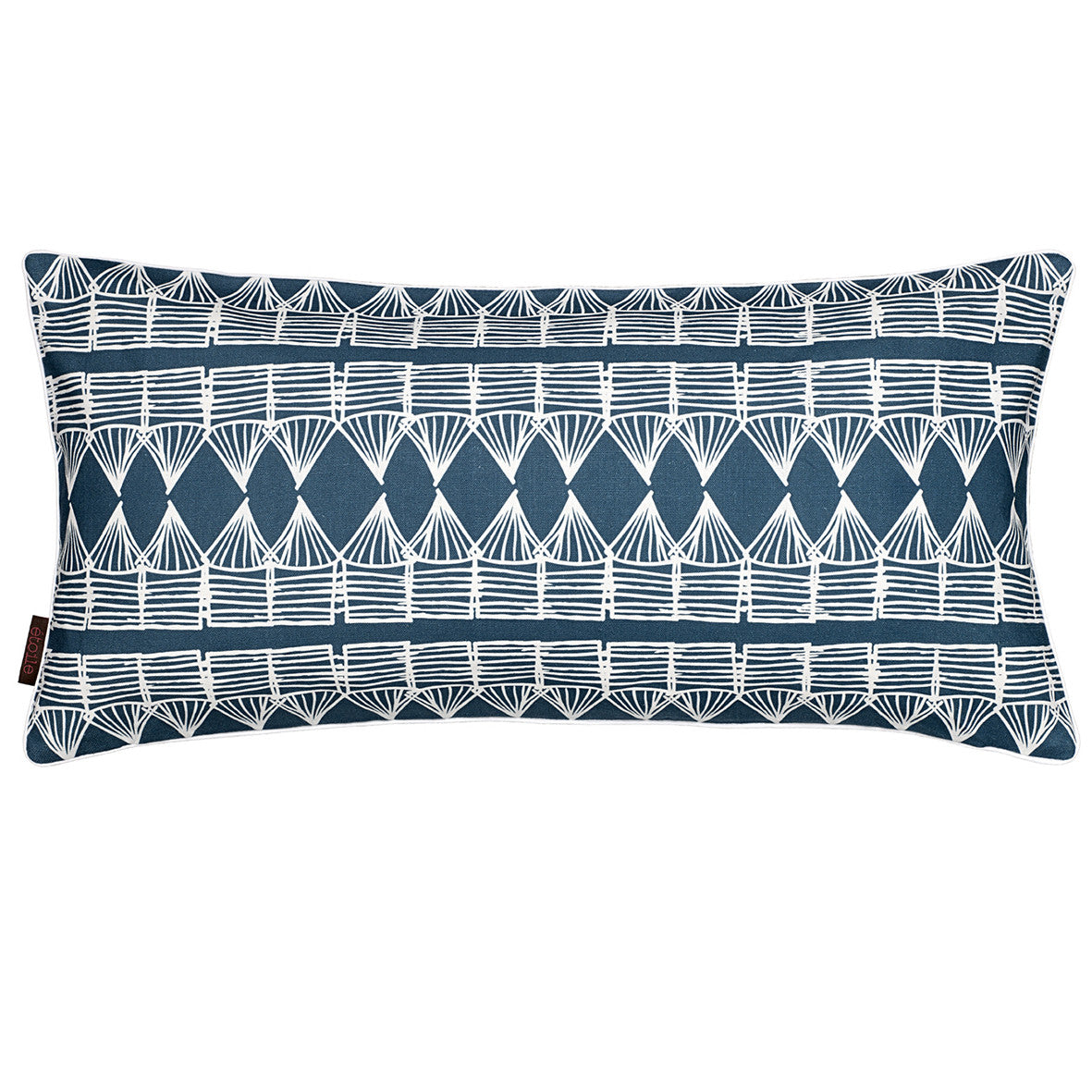 Tiki Huts Pattern Rectangle Linen Cushion in Dark Petrol Blue 30x60cm