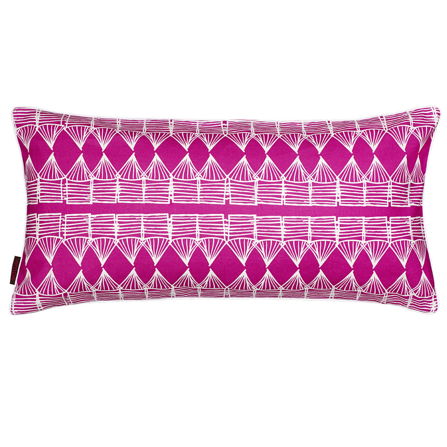 Tiki Huts Pattern Rectangle Linen Cushion in Hot Fuchsia Pink