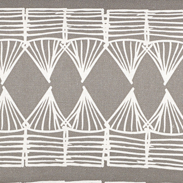 Tiki Huts Pattern Cotton Linen Designer Home Decor Fabric by the meter or by the yard for curtains, blinds, upholstery in Light Dove Grey ships from Canada USA