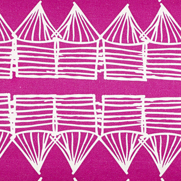Tiki Huts Pattern Cotton Linen Home Decor Fabric by the meter or by the yard for curtains, blinds, upholstery in Bright Fuchsia Pink ships from Canada (USA)