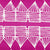 Tiki Huts Pattern Cotton Linen Designer Home Decor Fabric by the meter or by the yard for curtains, blinds, upholstery in Bright Fuchsia Pink ships from Canada (USA)