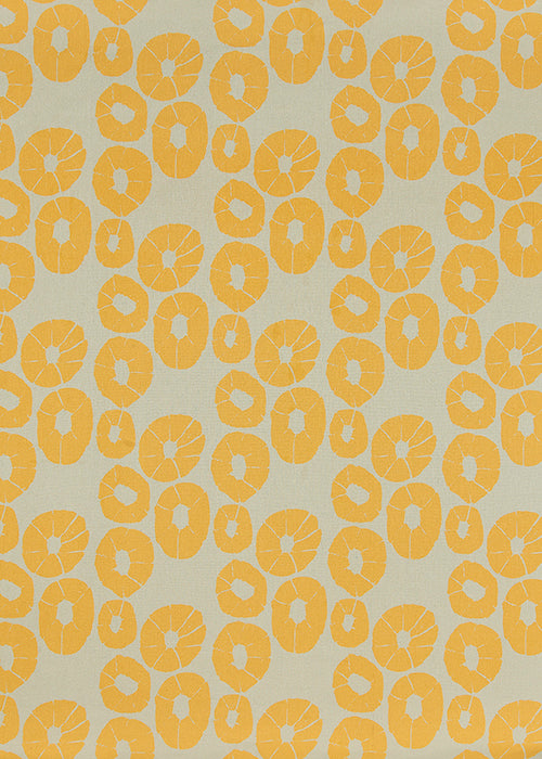 Jellyfish pattern cotton linen curtain, blind, upholstery fabric by the yard or meter in beige and saffron yellow ships from Canada