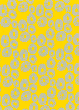 Jellyfish pattern home decor interiors fabric for curtains, blinds and upholstery in mustard yellow and pale winter blue ships from Canada to USA sold by meter or yard