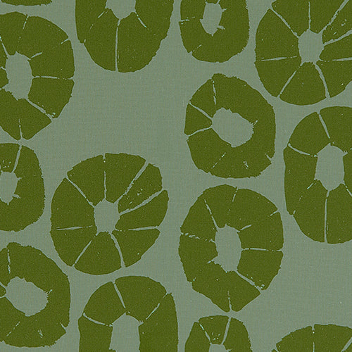 Jellyfish pattern home decor interiors fabric for curtains, blinds and upholstery in sea foam and olive green ships from Canada to USA sold by meter or yard.