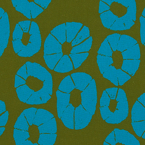 Jellyfish Pattern home interiors decor fabric for curtains, blinds and upholstery in Olive Green and Turquoise blue ships from Canada