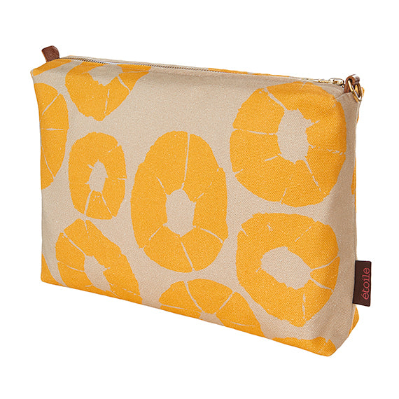 Jellyfish pattern water resistant canvas vanity or toiletry bag in earth and saffron yellow ships from Canada worldwide including the USA