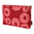 Jellyfish pattern water and stain resistant canvas toiletry or vanity bag in vermilion red and coral pink. Ships from Canada worldwide including the USA
