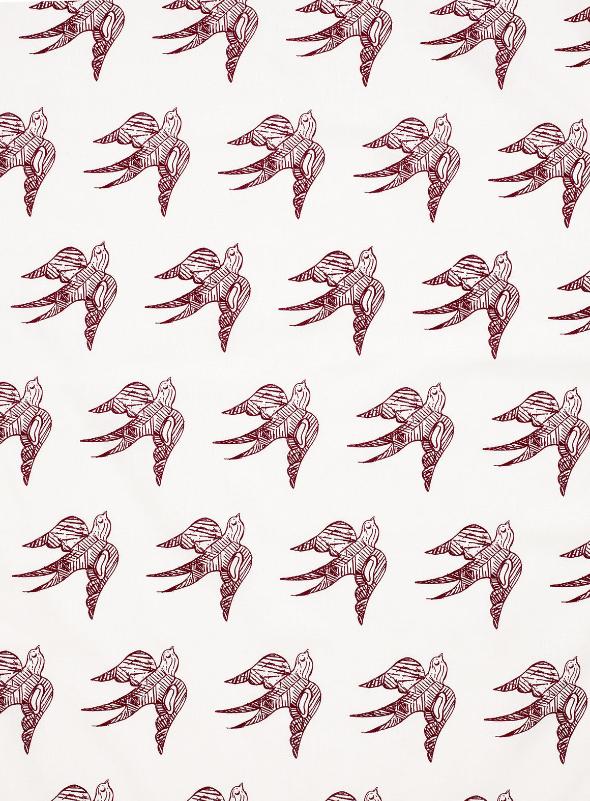 Katia Swallow Bird Pattern Linen Cotton Designer Home Decor Fabric by the Meter or yard in Dark Vermilion Red for curtains, blinds, upholstery ships from Canada (USA)