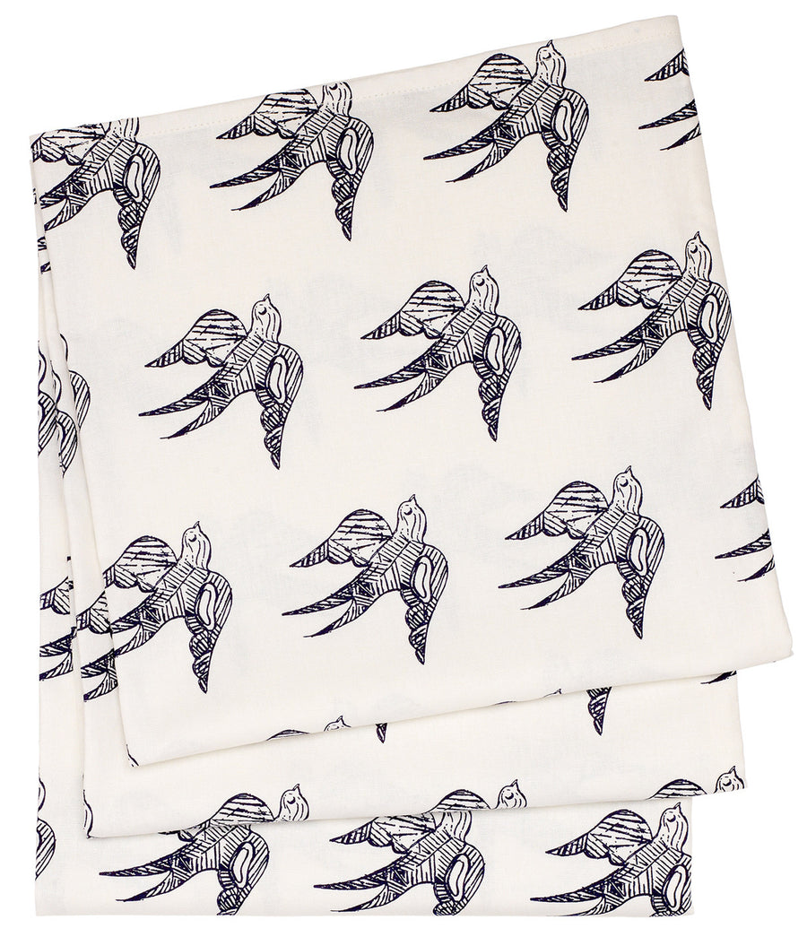 Katia Swallow Pattern Linen Tablecloth in Dark Aubergine Purple