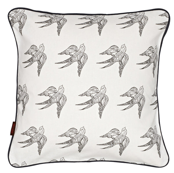 Katia Swallow Bird Pattern Linen Cotton Cushion in Stone Grey 45x45cm