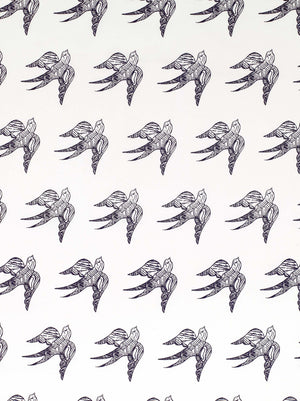 Katia Swallow Bird Pattern Linen Cotton Fabric by the Meter in Aubergine Purple