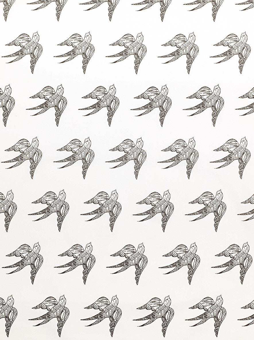 Katia Swallow Bird Pattern Linen Cotton Fabric by the Meter in Stone Grey