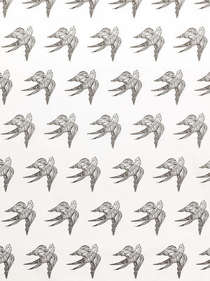 Katia Swallow Bird Pattern Linen Cotton Home Decor Fabric by the Meter or yard in Stone Grey for curtains, blinds, upholstery ships from Canada (USA)