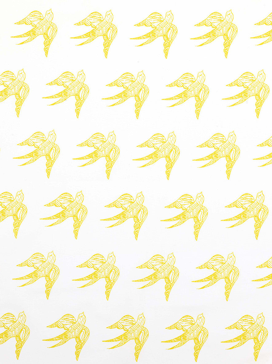 Katia Swallow Bird Pattern Linen Cotton Home Decor Fabric by the Meter or the yard in Maize Yellow Bright for curtains, blinds, upholstery ships from canada (USA)