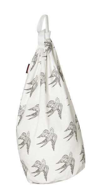 Katia Swallow Bird Pattern Linen Cotton Drawstring Laundry & Storage Bag in Stone Grey ships from Canada (USA)