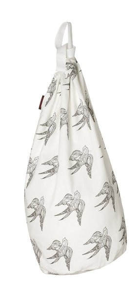 Katia Swallow Bird Pattern Linen Laundry Bag in Stone Grey