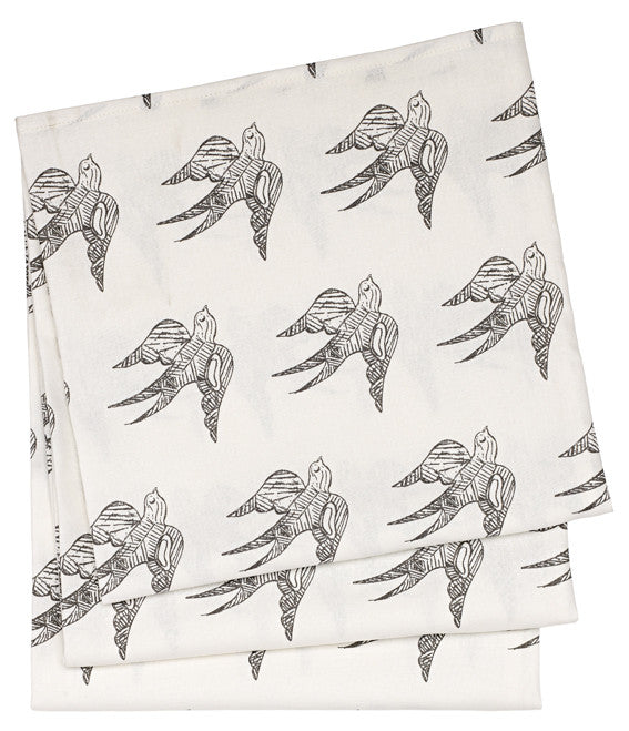 Katia Swallow Pattern Linen Tablecloth in Stone Grey