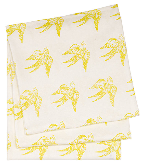 Katia Swallow Pattern Linen Tablecloth in Bright Maize Yellow